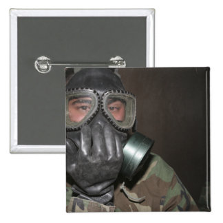 A Marine clears his gas mask 2 Inch Square Button