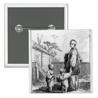 A Married Jewish Woman and her Children 2 Inch Square Button