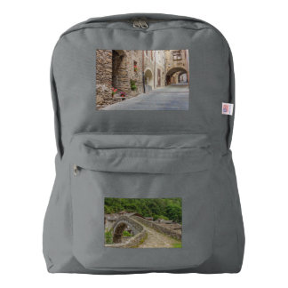 a  medieval village on American Apparel™ Backpack