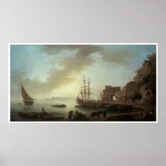 A Mediterranean Port at Dawn Poster