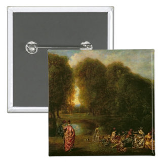 A Meeting in a Park 2 Inch Square Button