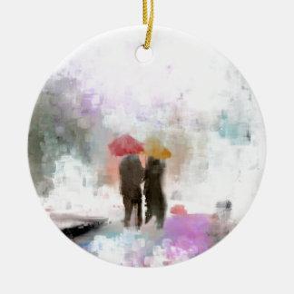 A Meeting in the Rain Round Ceramic Ornament