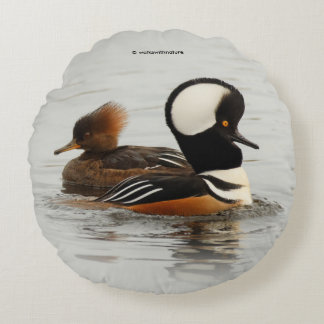 A Meeting of Hooded Mergansers Round Pillow