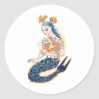 A Mermaid and her Sea Horse Classic Round Sticker