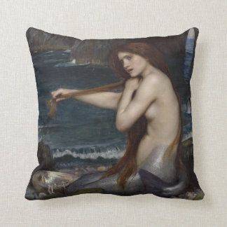 A Mermaid by John William Waterhouse Throw Pillow