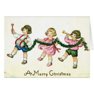 A Merry Christmas Children's Trio 1913 Vintage Card