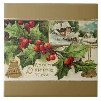 A Merry Christmas to You Vintage Ceramic Tile