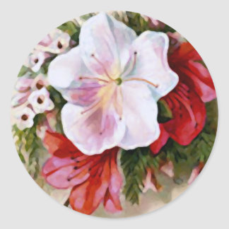 A Merry Christmas Vintage Flower Classic Round Sticker