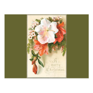 A Merry Floral Christmas Postcard