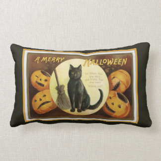 A Merry Halloween Black Cat and Pumpkins Black Lumbar Pillow