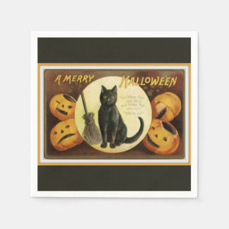 A Merry Halloween Black Cat and Pumpkins Black Paper Napkin
