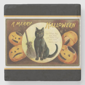 A Merry Halloween Black Cat and Pumpkins Black Stone Coaster