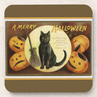 A Merry Halloween Black Cat and Pumpkins Brown Coaster