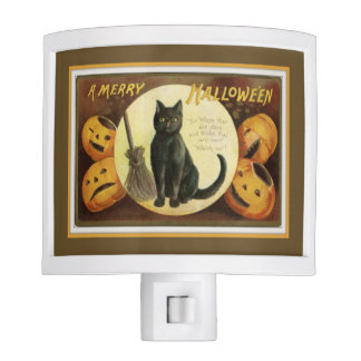 A Merry Halloween Black Cat and Pumpkins Brown Night Lights