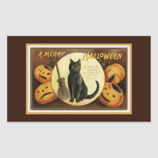 A Merry Halloween Black Cat and Pumpkins Brown Sticker