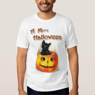 'A Merry Halloween', Black Cat & Jack-o-lantern Tshirts