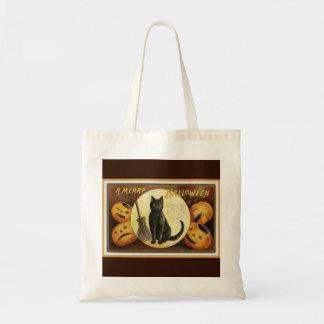 A Merry Halloween Vintage Black Cat and Pumpkins Tote Bag