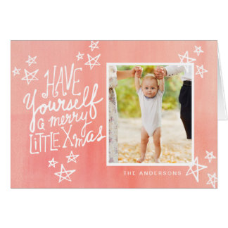 A Merry Little Xmas Hand Lettered Holiday Photo Card