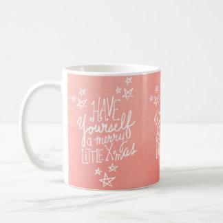 A Merry Little Xmas Script Watercolor Holiday Coffee Mug