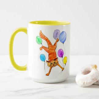 A merry red cat flying with balloons mug