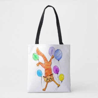 A merry red cat flying with balloons tote bag