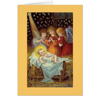 A Mery Christmas Angels with Baby Jesus Card