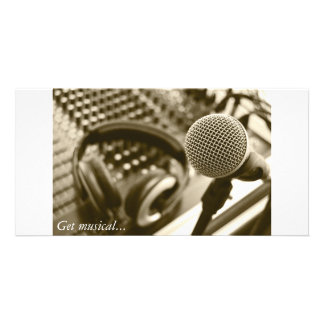A microphone and headphones photo greeting card