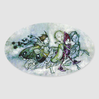 A Midsummer Night's Dream Fairies Oval Sticker