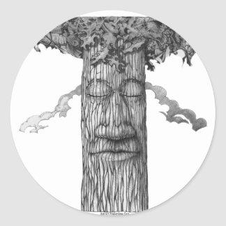 A Mighty Tree Cover B&W Classic Round Sticker