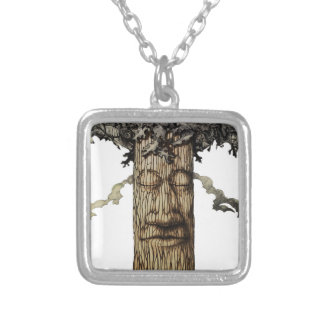 A  Mighty Tree Cover Page Silver Plated Necklace