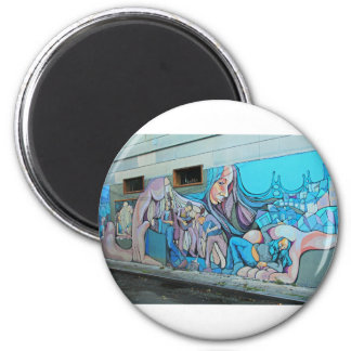 A Mission District Mural 2 Inch Round Magnet