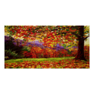 A Misty New England Autumn Poster