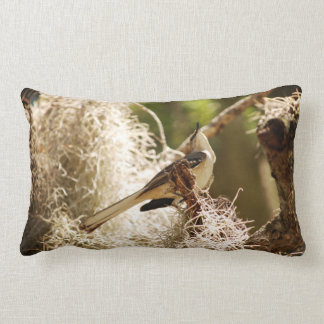 A Mockingbird in Spanish Moss on an Oak Limb Lumbar Pillow