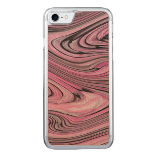 A Modern Abstract Pink Black Wave Pattern Carved iPhone 7 Case