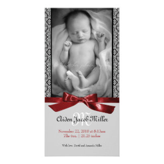 A Modern Damask Baby Birth Announcement Photo Card Template