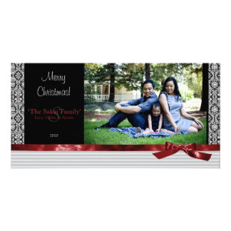A Modern Damask Holiday Photo Card