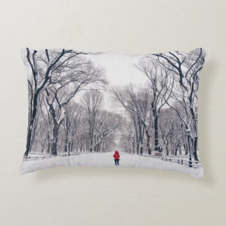 A Modern Little Red Riding Hood in Central Park Accent Pillow