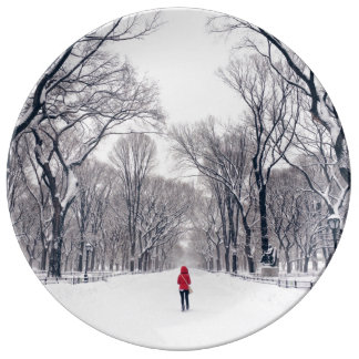 A Modern Little Red Riding Hood in Central Park Porcelain Plates