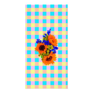 A Modern Pink Teal Checkered Sun Flower Pattern Picture Card