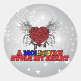 A Moldovan Stole my Heart Classic Round Sticker