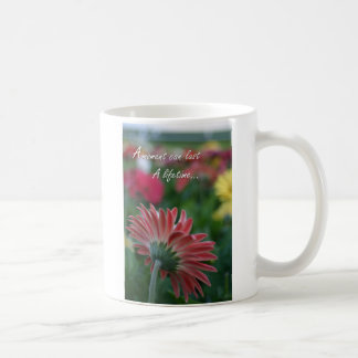 A Moment Pink Gerbera Daisy quote coffee cup Basic White Mug