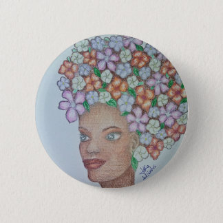 A MOMENT TO ADMIRE FLORES 2 INCH ROUND BUTTON