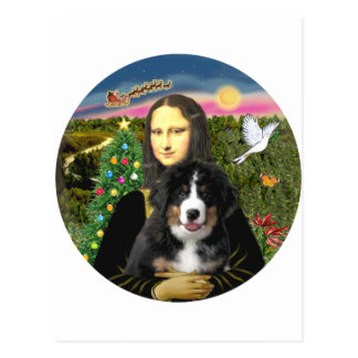 A Mona Lisa Christmas - Bernese MD Puppy Postcard
