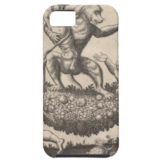 A monkey holding a bound putto standing on a garla case for the iPhone 5