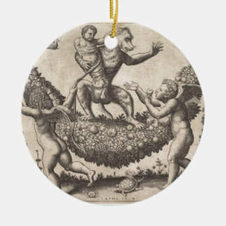 A monkey holding a bound putto standing on a garla ceramic ornament