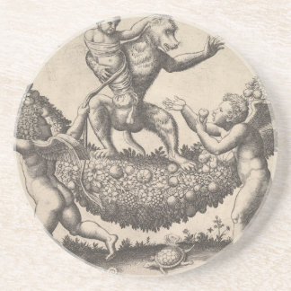 A monkey holding a bound putto standing on a garla coaster