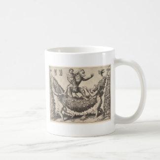 A monkey holding a bound putto standing on a garla coffee mug