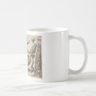 A monkey holding a bound putto standing on a garla coffee mug