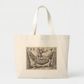 A monkey holding a bound putto standing on a garla large tote bag