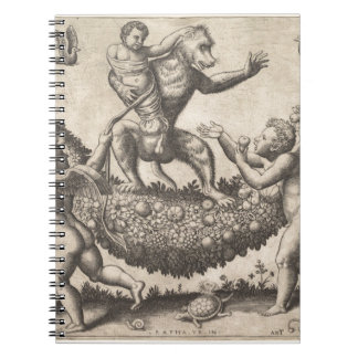 A monkey holding a bound putto standing on a garla notebook